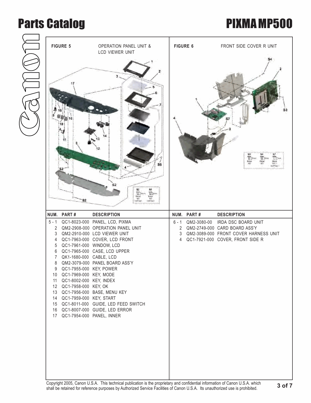 Canon PIXMA MP500 Parts Catalog Manual-4